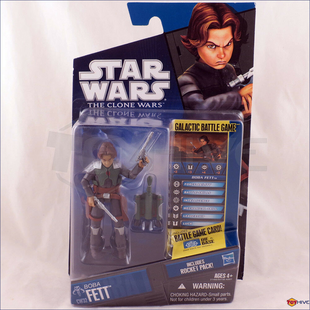 Star Wars The Clone Wars 2010 young Boba Fett CW32 animated series action figure
