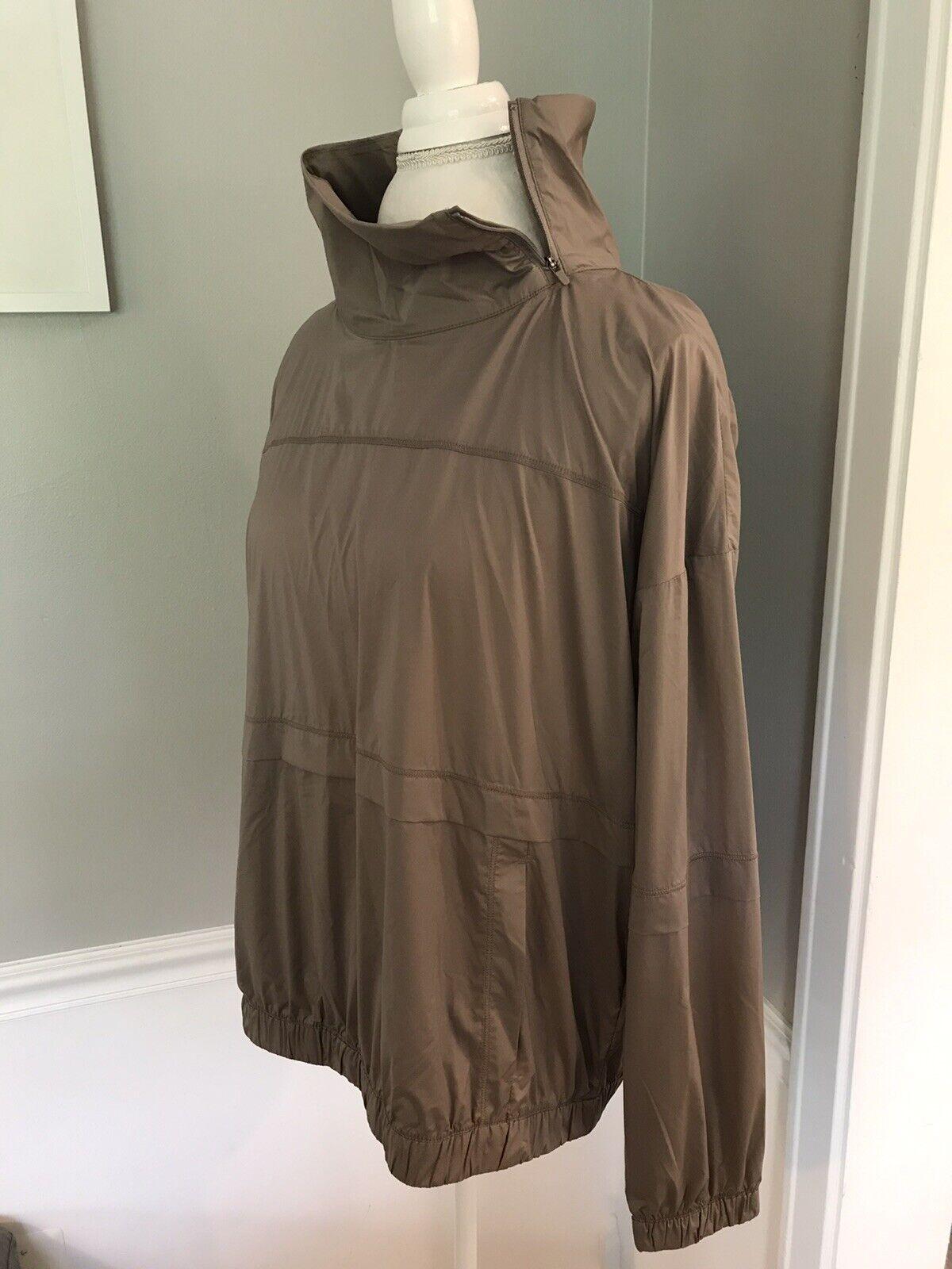 NWT ATHLETA Run With It Half Zip Pullover Jacket MEDIUM Mortar Mushroom Top