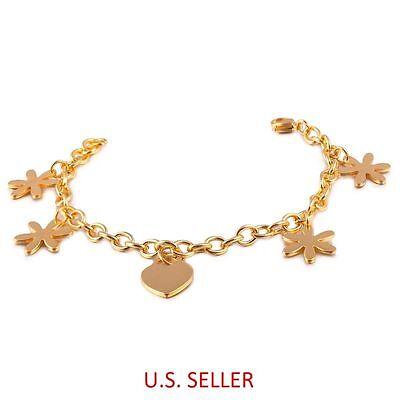 8.3'' Women's 316L Stainless Steel Gold Plated Bracelet w/ Flowers & Heart Charm