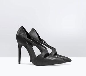 72cd81ada74d NWT ZARA ASYMMETRIC LEATHER COURT SHOE High Heels Black Snake Print ...