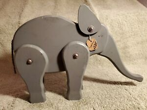 Antique Carved Wood wooden Folk Art Elephant Toy primitive NICE with Sales Tag