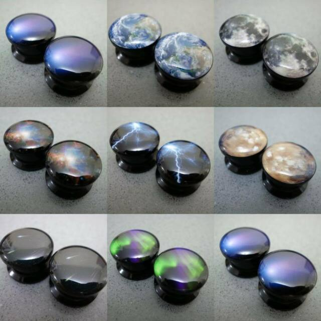 Multiple Size Galaxy Space & Natural Phenomena Acrylic Flesh Tunnels Ear Plugs