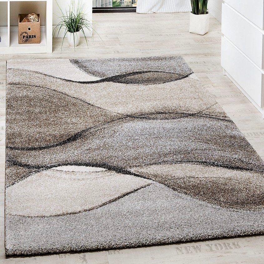Alfombra gris Beis Moderno Abstracto Crema Alfombra de patrón de onda Pequeño Grande Dormitorio Alfombra