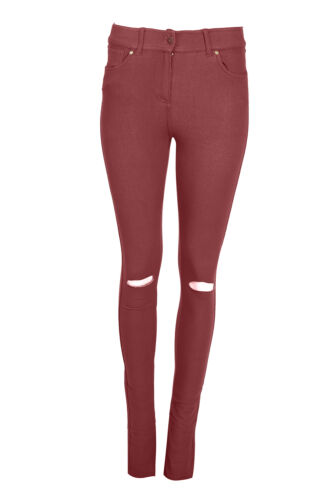 Neu Damen Zerrissen Enganliegend Farbig Stretch-Jeans Damen Jeggings Größe 8-16