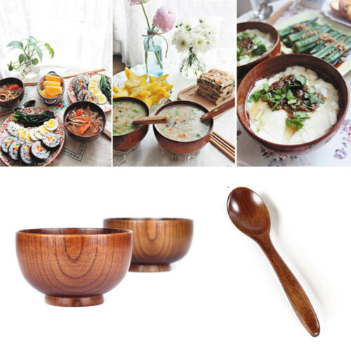 Japanese Style Wooden Rice Bowl Soup Spoon Natural Wood Tableware Tools