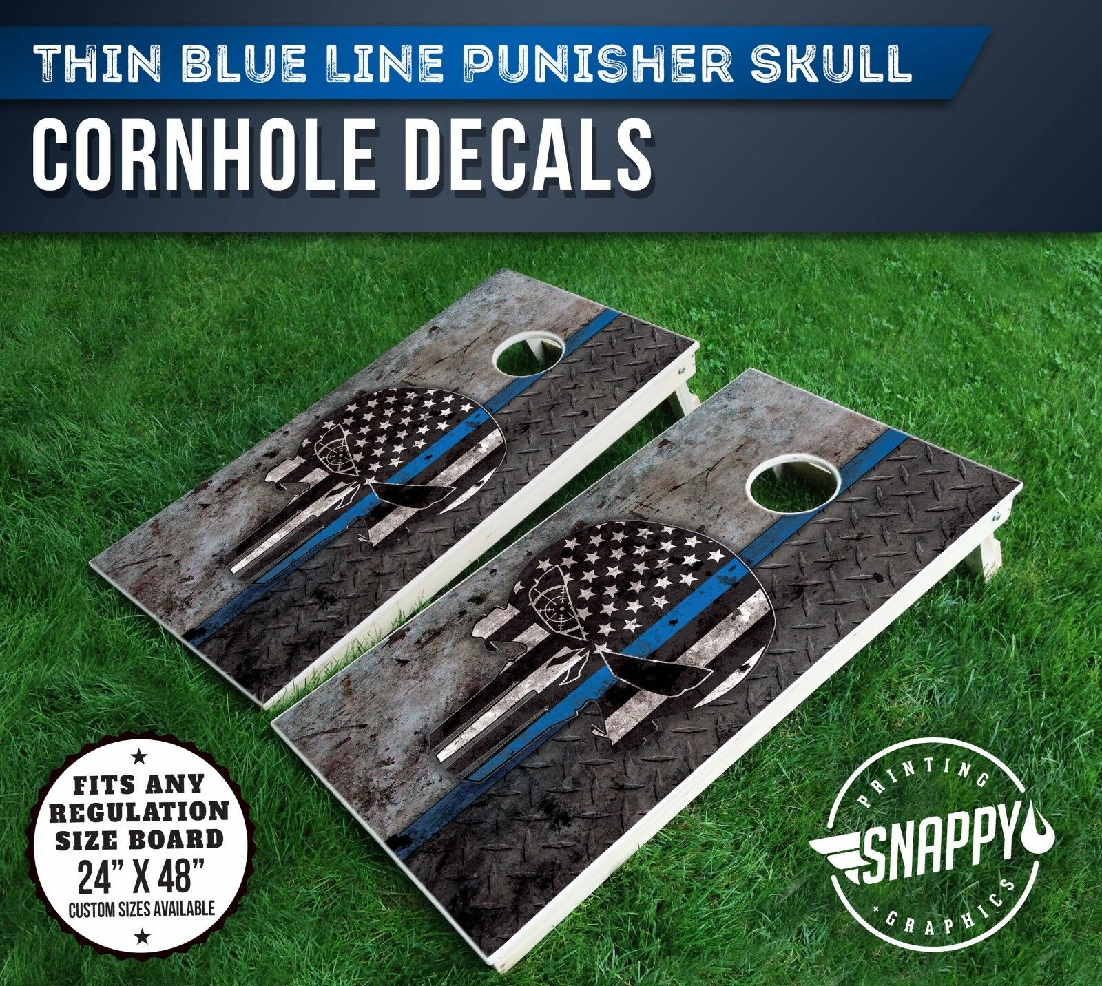 Thin bluee Line  Punisher Skull Cornhole Decal - Bags  -Vinyl Decals  special offer