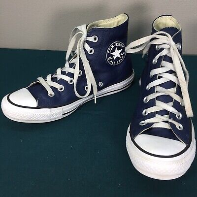 Used Converse Navy Blue Leather High Top Shoes Sneakers Mens sz 4.5 Womens 6.5 | eBay