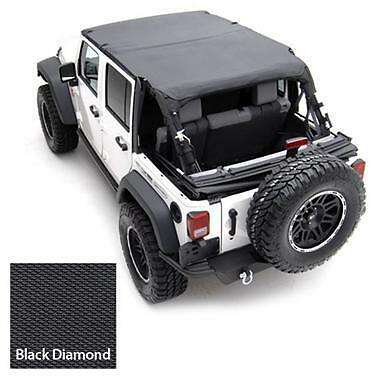 2010-2017 Jeep Wrangler Unlimited Safari Extended Bikini Top Black