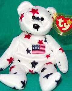 TY Beanie Baby 1997 GLORY July 4th USA TEDDY BEAR MWMT Plush Bean ... 38325484b77