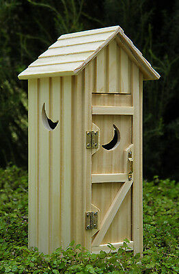 Miniature Dollhouse FAIRY GARDEN Furniture ~ Natural Wood Single Outhouse ~ NEW