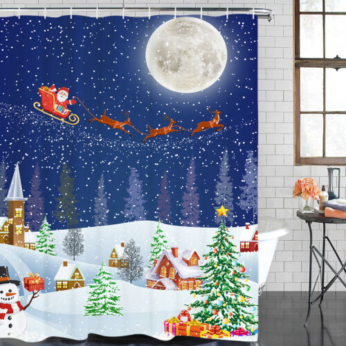 Christmas Waterproof Shower Curtain With 12 Hooks Fabric for Home Bathroom Decor
