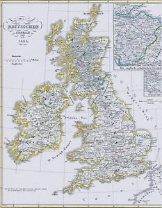 Landkarte Britannien 1485 England Wales Schotland