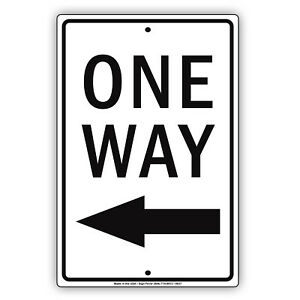 One-Way-With-Left-Arrow-Aluminum-Metal-8x12-Sign