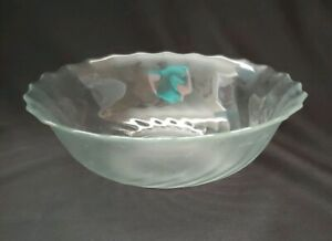 6 pc Vintage Arcoroc Seabreeze Salad Bowl Set Clear Swirl Scalloped Dishes JG Durand FRANCE Seabreeze crystal Salad Bowl set replacements