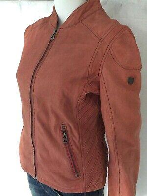 Gipsy Sashi Damen Lederjacke LUNAV Dekorative Steppungen Rot