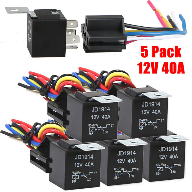 5 Pcs DC-12V Car SPDT Automotive Relay 5 Pin 5 Wires W/ Harness Socket 30/40 Amp