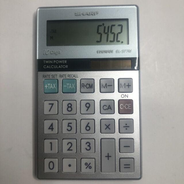 Sharp ELSI MATE EL-377M Twin Power Solar + Battery 10 Digit Calculator - Tested