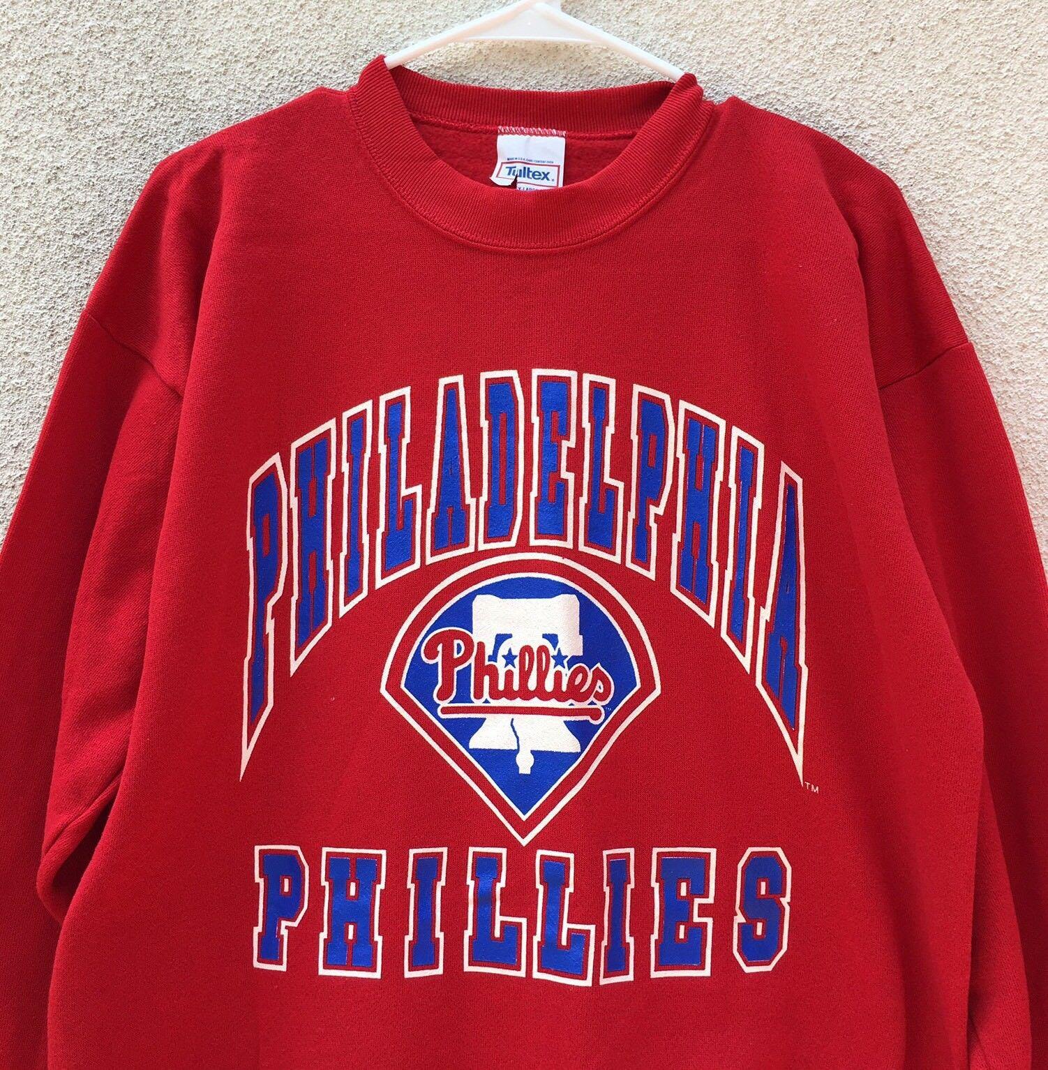 Philadelphia Phillies Vintage 90s Sweatshirt ROT Blau Logo Adult XL