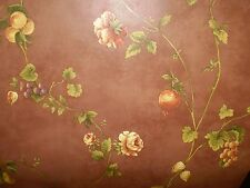 Tuscan Fruits & Flowers on Brown Wallpaper By Brewster  FD59329