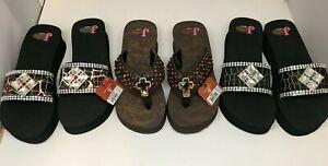 Justin-slip-on-Mackenzie-Rhinestones-ladies-sandals-flip-flops-shoes-Retail-70