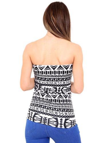 New ladies animal bandeau top women leopard aztec boob tube shirt mini dress