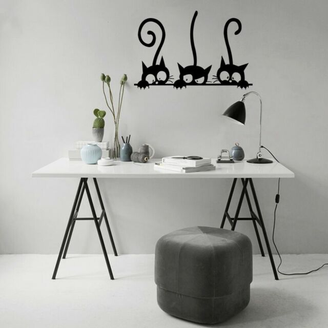 Black Cat Funny wall Sticker Children Bedroom Wall Decal Home Decoration h