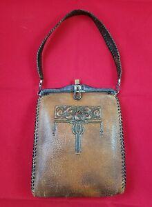 Antique-Leather-Purse-Handbag-Bag-Clutch-Hand-Tooled-Leaves-Art-Deco-Latch-Brass