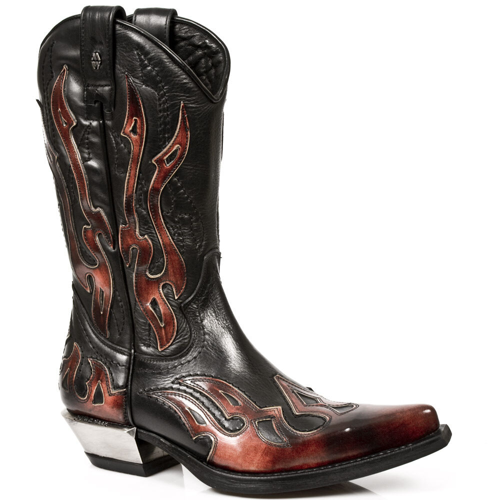 New Rock 7921-S2 Leather Black Red Flame Cowboy Leather Gohic Punk Rock Boots