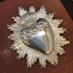 Sacro cuore accessorio per statua Gesu' sacra fiamma 6,5x8 cm ottone