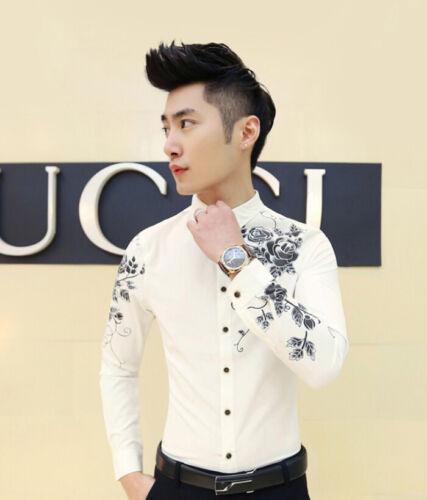 2017 New Men/'s Floral Slim Fit Pop Long Sleeve Casual Dress Shirt Top B427