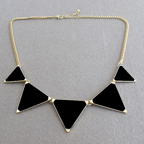 Fashion Black Tempting Trendy Candy Enamel Necklace Triangle Bib Statement New