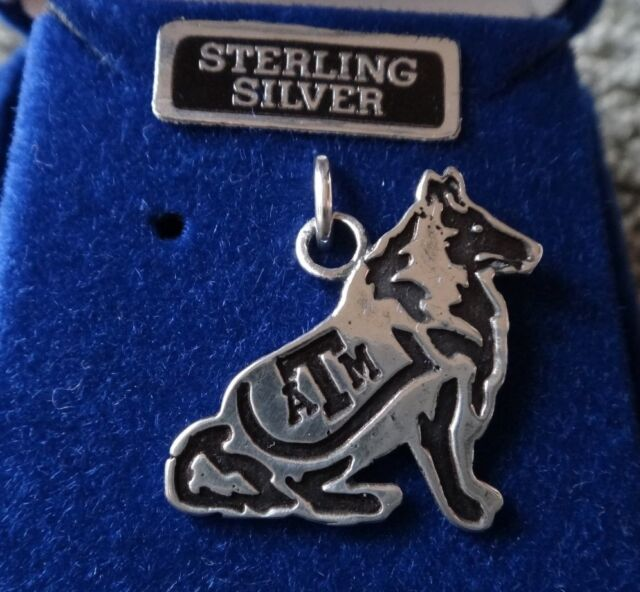 Sterling Silver 20x22mm Texas A&M University Reveille ATM Aggie Mascot Charm