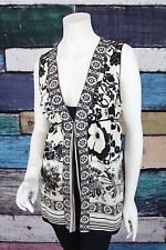 Hale Bob Anthropologie Cream Black Floral Tie Back Silk Tunic Blouse Top LARGE L