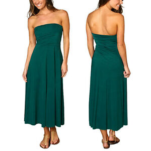 A-line-Chic-strapless-Jersey-Cocktail-Party-Day-Dress-Convertible-Skirt-Teal