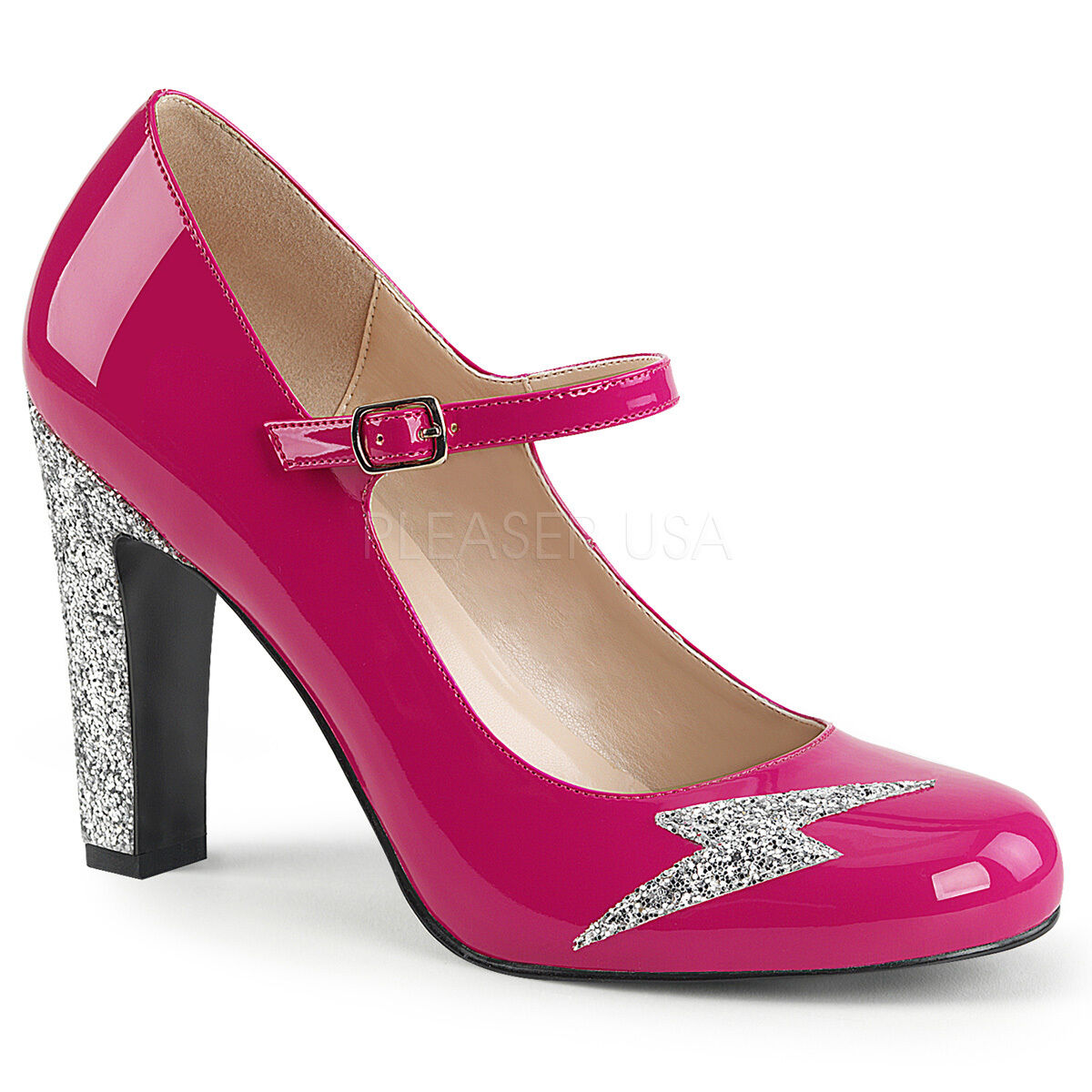 Sexy 4  High Heel Hot Rosa Mary Jane Pumps schuhe Lightning Bolt Silber Glitters