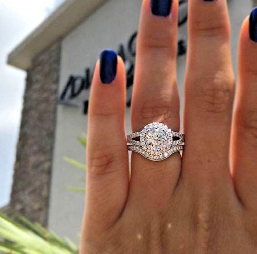 Certified 2Ct Round VVs1 Moissanite Bridal Engagement Wedding 14K gold Ring Set