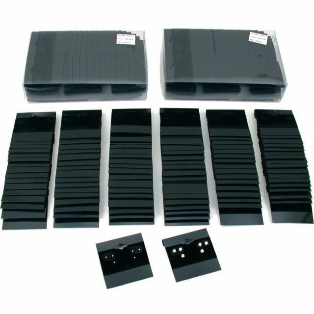 Professional Plastic Earring Studs Holder Display Hang Cards Black 100pc Q2w for sale online
