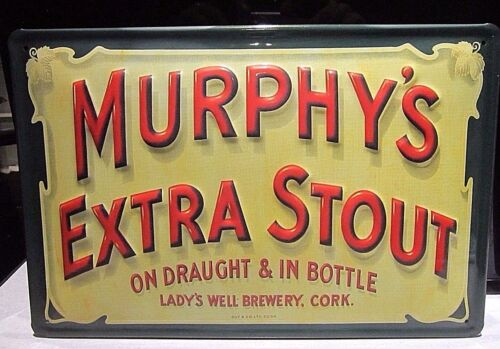 MURPHY/'S EXTRA STOUT EMBOSSED 3D METAL  ADVERTISING SIGN 30X20cm PUB//BAR CORK