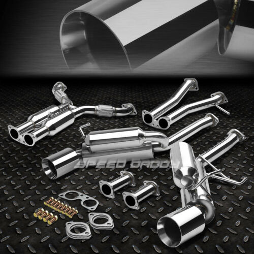"""FOR 350Z Z33//G35 V35 DUAL 4.5/"""" ROLLED TIP HI-POWER RACING CATBACK EXHAUST SYSTEM"""