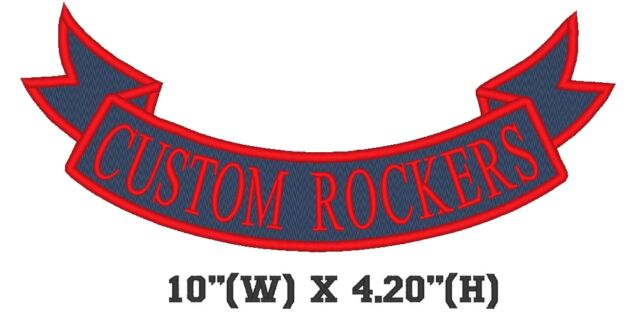 "Custom Embroidered Bottom Rocker Ribbon Patch Vest Outlaw Biker MC Badge 10"" (E)"