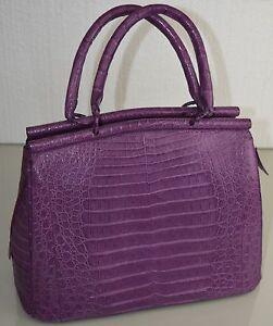 Image Is Loading New Nancy Gonzalez Purple Lilac Crocodile Large Tote