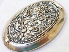 Antique 800 Silver Repousse Pocket Powder Mirror Compact  Case Box , Circa 19c