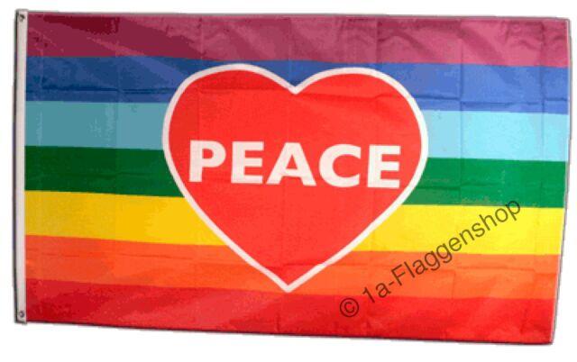 Regenbogen mit PEACE Hissflagge Friedens Fahnen Flaggen 90x150cm