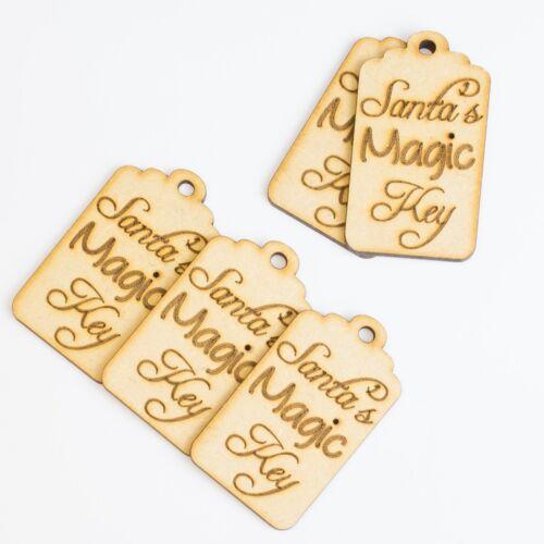Santas Magic Key Tag Wooden MDF Christmas Craft Shape Blank Xmas Star Keys