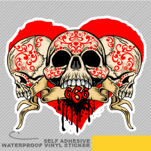 666 Skull Heart Vintage Vinyl Sticker Decal Window Car Van Bike 2931