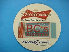 Beer Bar Coaster ~*~ BUDWEISER Great American Lager ~*~ BC's Kitchen ~ MISSOURI