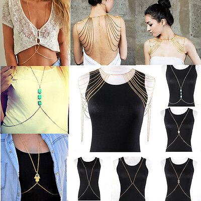 BODY CHAIN Körperkette Bauchkette Halskette Infinity Hamsa Hand Körper Kette NEU