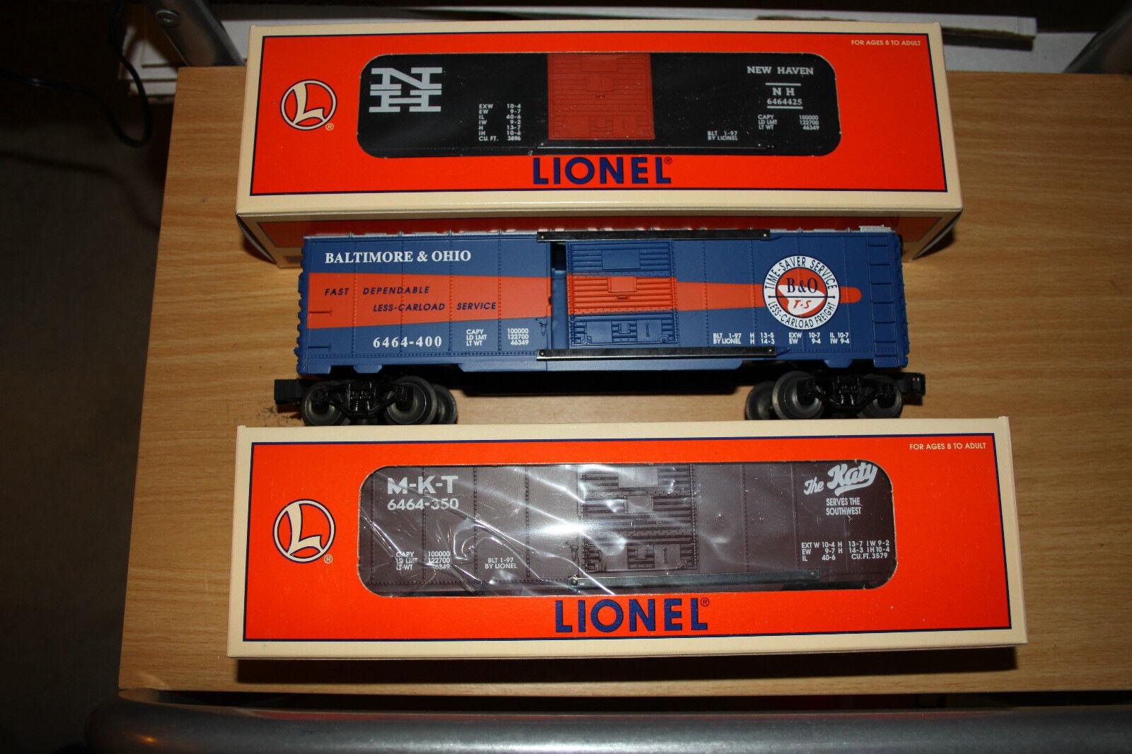 Lionel O gauge three box car set 6 Series  new old 6464 made 1997