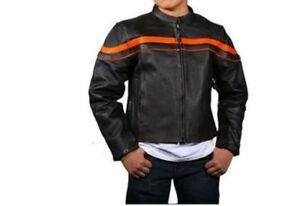 Kids Black Orange Leather Motorcycle Jacket Kids Motorcycle