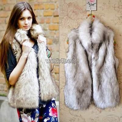 Faux Fur Body Warmer Women Lady Vest Waistcoat Gilet Sleeveless Jacket 6 - 16